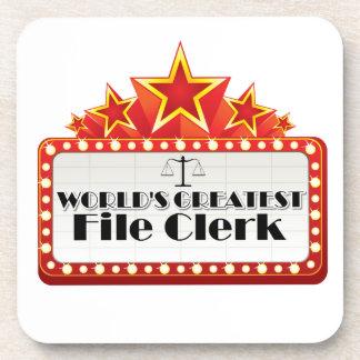 World's Greatest File Clerk Drink Coaster