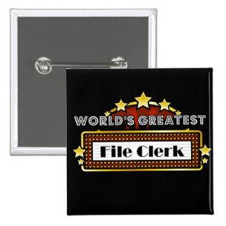 World's Greatest File Clerk Pins