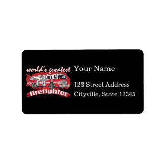 World's Greatest Firefighter Address Label