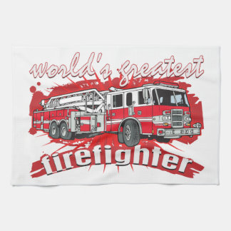 World's Greatest Firefighter Hand Towels