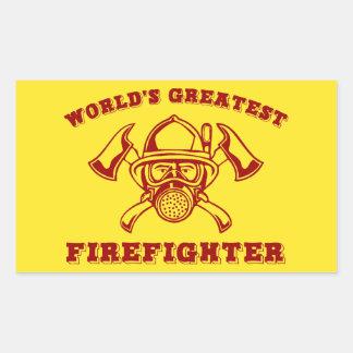 World's Greatest Firefighter Rectangular Sticker