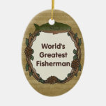 Worlds Greatest Fisherman Double-Sided Oval Ceramic Christmas Ornament