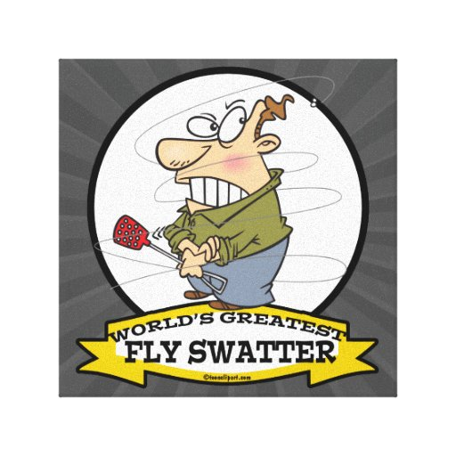 WORLDS GREATEST FLY SWATTER MEN CARTOON CANVAS PRINT