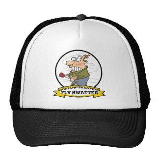 WORLDS GREATEST FLY SWATTER MEN CARTOON TRUCKER HAT