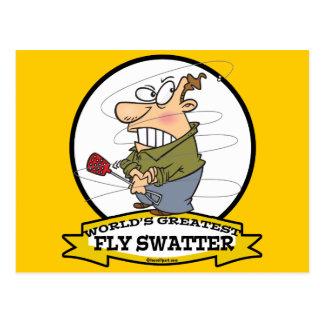 WORLDS GREATEST FLY SWATTER MEN CARTOON POSTCARD