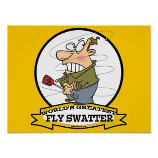 WORLDS GREATEST FLY SWATTER MEN CARTOON PRINT