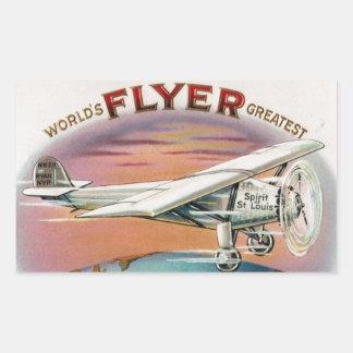 World's Greatest Flyer Vintage Spirit of St. Louis Rectangular Sticker