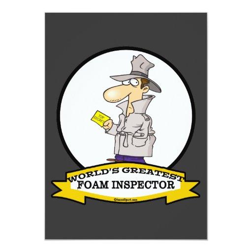 WORLDS GREATEST FOAM INSPECTOR  CARTOON 5X7 PAPER INVITATION CARD