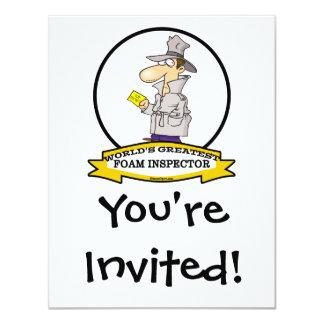 WORLDS GREATEST FOAM INSPECTOR  CARTOON 4.25X5.5 PAPER INVITATION CARD