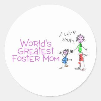 Worlds Greatest Foster Mom Classic Round Sticker