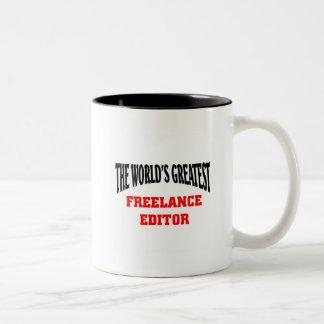 World's Greatest Freelance Editor Two-Tone Coffee Mug