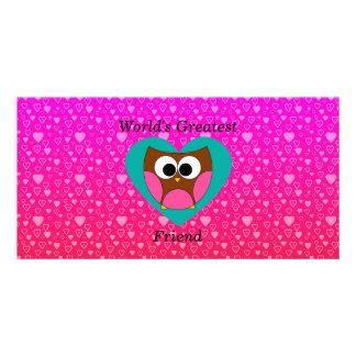Worlds greatest friend owl photo card