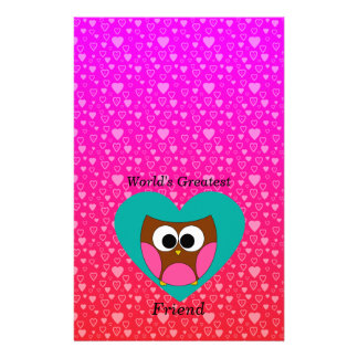 Worlds greatest friend owl stationery