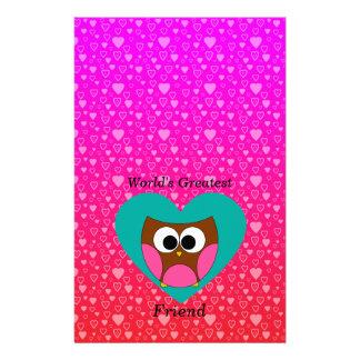 Worlds greatest friend owl stationery paper