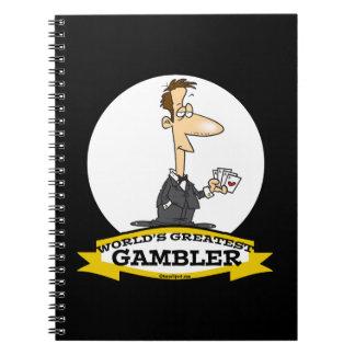 WORLDS GREATEST GAMBLER MEN CARTOON SPIRAL NOTE BOOKS