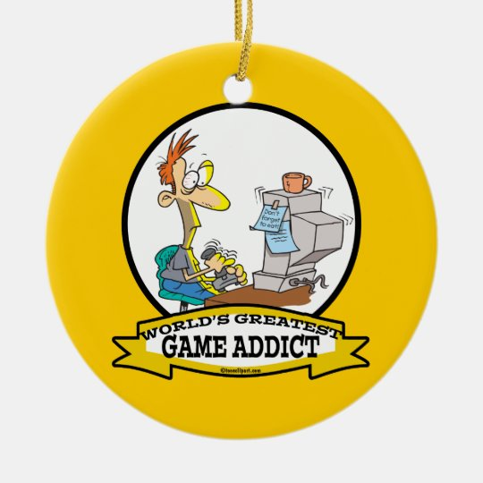 WORLDS GREATEST GAME ADDICT CARTOON CERAMIC ORNAMENT