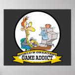 WORLDS GREATEST GAME ADDICT CARTOON POSTER