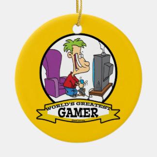 WORLDS GREATEST GAMER II CARTOON CHRISTMAS TREE ORNAMENTS