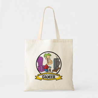WORLDS GREATEST GAMER II CARTOON TOTE BAG