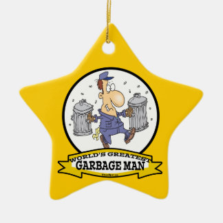 WORLDS GREATEST GARBAGE MAN CARTOON Double-Sided STAR CERAMIC CHRISTMAS ORNAMENT