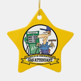 WORLDS GREATEST GAS ATTENDANT II CARTOON CHRISTMAS ORNAMENTS