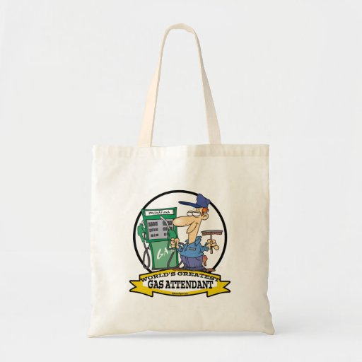 WORLDS GREATEST GAS ATTENDANT II CARTOON TOTE BAGS