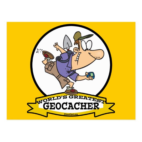 WORLDS GREATEST GEOCACHER MEN CARTOON POSTCARD
