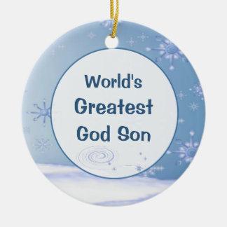 World's Greatest God Son Christmas Ornament