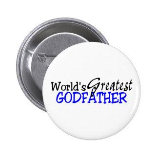 Worlds Greatest Godfather Blue Black Pinback Button