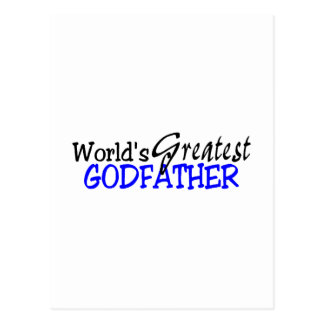 Worlds Greatest Godfather Blue Black Postcard
