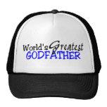 Worlds Greatest Godfather Blue Black Trucker Hat