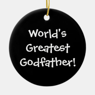 Worlds Greatest Godfather Double-Sided Ceramic Round Christmas Ornament