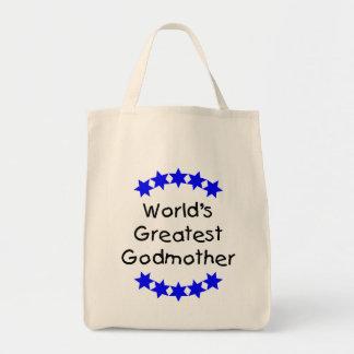 World's Greatest Godmother (blue stars) Canvas Bag