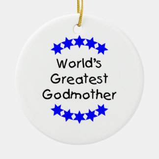 World's Greatest Godmother (blue stars) Ceramic Ornament
