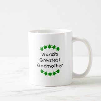 World's Greatest Godmother (green stars) Classic White Coffee Mug