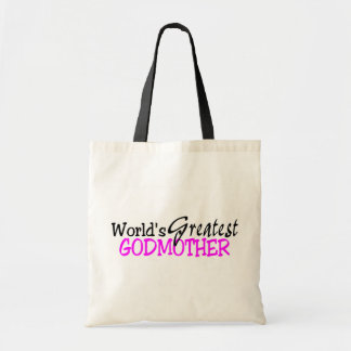 Worlds Greatest Godmother Pink Black Tote Bag