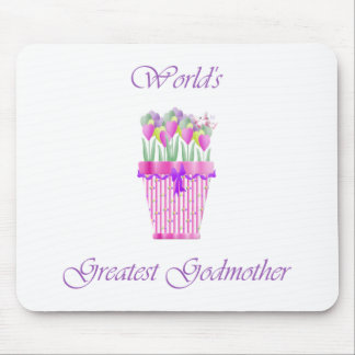 World's Greatest Godmother (pink flowers) Mouse Pad