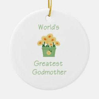 World's Greatest Godmother (yellow flowers) Ceramic Ornament