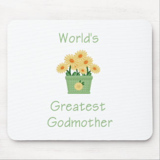 World's Greatest Godmother (yellow flowers) Mouse Pad