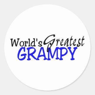 Worlds Greatest Grampy Blue Black Classic Round Sticker
