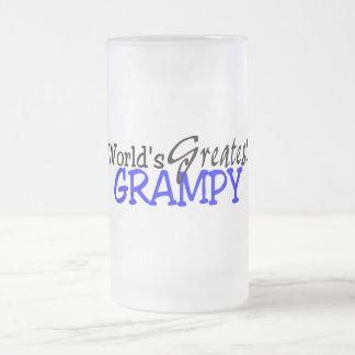 Worlds Greatest Grampy Blue Black Frosted Glass Beer Mug