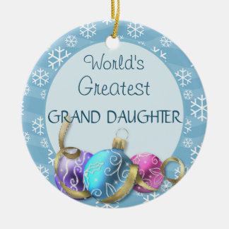 World's Greatest Grand daughter Christmas Double-Sided Ceramic Round Christmas Ornament