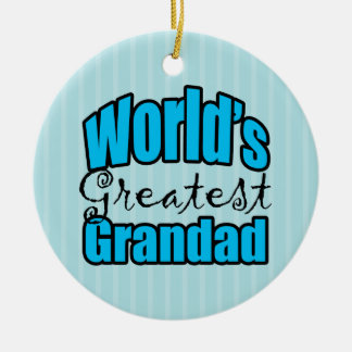 Worlds Greatest Grandad Double-Sided Ceramic Round Christmas Ornament