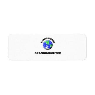 World's Greatest Granddaughter Return Address Label