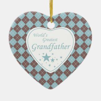World's Greatest grandfather argyle heart ornament
