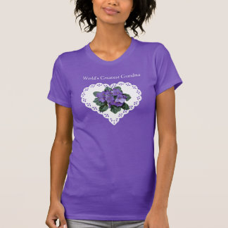 World's Greatest Grandma African Violet & Doily T-Shirt