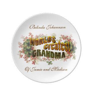 World's Greatest Grandma Customizable Dinner Plate