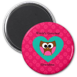 World's greatest grandma cute owl 2 inch round magnet