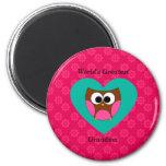 World's greatest grandma cute owl fridge magnets