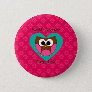 World's greatest grandma cute owl pinback button